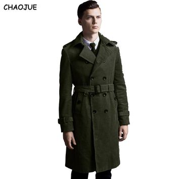 CHAOJUE Long corduroy trench coat for mens 2016 long sleeve plus size double breasted jacket male cotton over coat for gifts