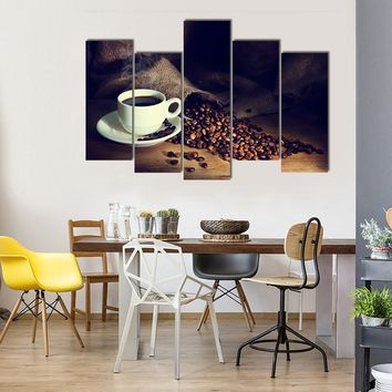Coffee Cup And Coffee Beans On A Wooden Table Multi Panel Canvas Wall Art