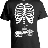 Burger And Fries Skeleton Ribcage T Shirt Halloween Costume Shirt Halloween Party Shirt Pregnancy Gift For Dad Expectant Father Tee MAT-169
