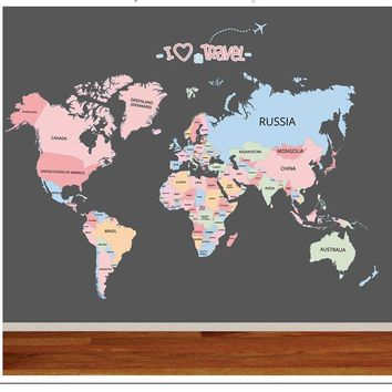Children Wall Sticker Bedroom Baby Room Educational World Map Classroom Decor Colorful English Letter