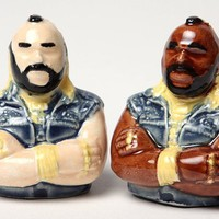 Mr T Salt and Pepper Shakers Ceramic Clay by modernfx