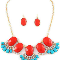 J Crew Inspired Stone Fringe Necklace Set-Two Color Options