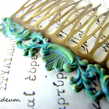 Hair comb Antique style Vintage inspired Hair comb Blue Verdigris Patina Hair accessory