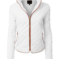 LE3NO Womens Lightweight Quilted Stand Collar Down Coat Zip Up Jacket