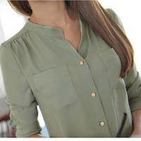 Fashion Ladies Women's Chiffon Tops Long Sleeve Button Down Shirt Casual Blouse