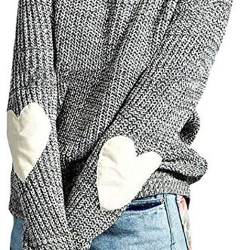 Women's Casual Long Sleeve Crewneck Stripes Colorblock Knit Sweater Pullover