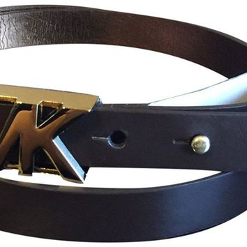 Michael Kors Logo Wide Goldtone Buckle Belt Brown XL