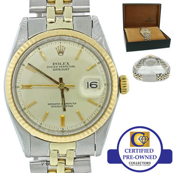 Vintage Rolex DateJust Oyster Perpetual 1603 14k Gold Steel Fluted 36mm Watch w/