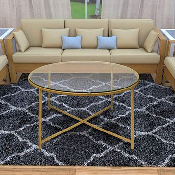 Round Metal Coffee Table With Glass Top and X Shape Base, Gold and Clear