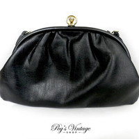 Vintage Cabrelli Black Clutch / Purse, Ladies Faux Leather Handbag