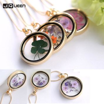 2018 Hot Dried Flower Pendant Necklace Glass Ball Plant Flower Crystal Long Chain Necklace Gift Collier Femme