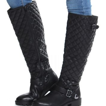 Quilted Knee High Boots Black