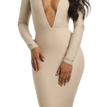 White V-Neck Bodycon Midi Dress