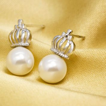 Personalized pearl crown 925 sterling silver earrings