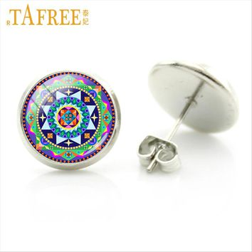 TAFREE 2017 new women vintage Stud Earrings buddhist Sacred geometry mandala round Glass cabochon dome dangle jewlery H354