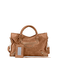Metallic Edge Suede City Bag, Tan