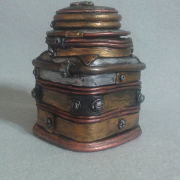 Steampunk stash jar, polymer clay steampunk jar with lid, metallic industrial container