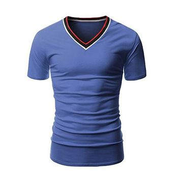 5 Colors Mens 2017 Summer Tops Tee New Fashion Brand Stylish Men Clothing Male V-neck Short Sleeve Slim Fit Solid T-shirts