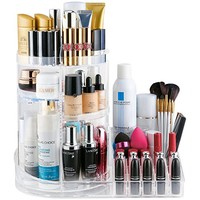 Jerrybox Acrylic Cosmetic & Jewelry Storage Box, 360-Degree Rotating Makeup Organizer, Adjustable Multi-Function Cosmetic Organizer, Transparent