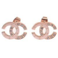 Chanel Woman Fashion Logo Diamonds Stud Earring