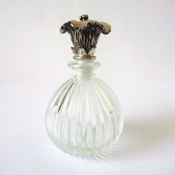 Perfume Bottle, Vintage Stripped Glass, Flower Top, Metal Lid, Vanity