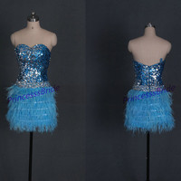 Short sequins homecoming dresses in lue,2014 chic sexy prom gowns with ostrich feather,unique cheap women dress for party hot.