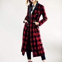 Free People Womens Shadow Plaid Sergeant Jacket - Garnet, 6