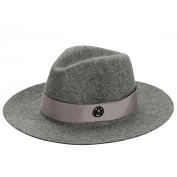 Letter M Wide Brim Wool Felt Top Hat Brand Vintage Elegant British Style Ladies Fedora Hat For Women Female Spring Winter Summer