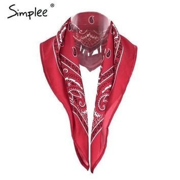 Simplee Satin Square Women Scarf Bandana Autumn 2016 Red Paisley Print Neckerchief Hair Band Hip Hop Black White Headwear Hijab