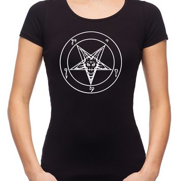 White Baphomet Inverted Pentagram Women's Babydoll Shirt Top Occult