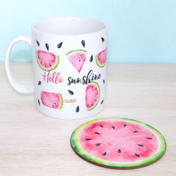Hello Sunshine Watermelon Mug And Coaster