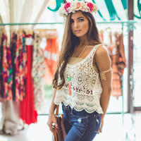 Crochet Crop Top in Cream