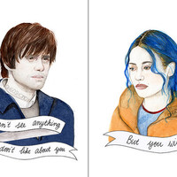 Eternal Sunshine of the Spotless Mind watercolor portrait PRINT Clementine Joel