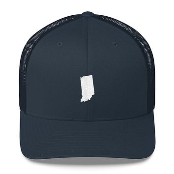 Indiana Embroidered State Shape Trucker Cap