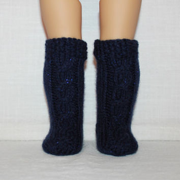 hand knit socks, navy sparkle knee high cable socks, 18 inch doll clothes, american girl, maplelea