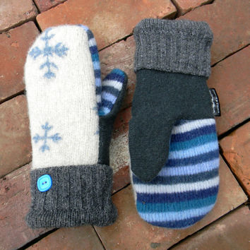Wool Mittens, Sweater Mittens, Upcycled, Women's Mittens Blue Teal Stripes Ivory Made in Wisconsin SweatyMitts Fleece Lined Handmade Gift