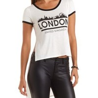 Extreme High-Low London Ringer Tee by Charlotte Russe - Ivory