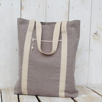 Natural linen tote bag shoulderbag messenger bag everyday bag beige strap
