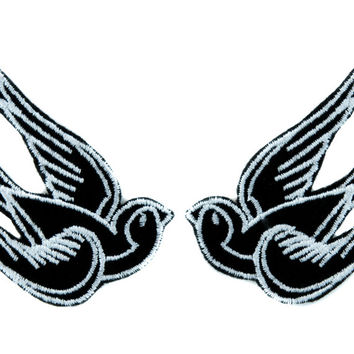 White Swallow Sparrows Bird Patch Iron on Applique Alternative Clothing Tattoo Rockabilly
