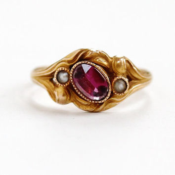 Antique Victorian 10k Rose Gold Art Nouveau Amethyst & Seed Pearl Ring - Early 1900s Size 6 1/2 Purple Gemstone Fine Jewelry