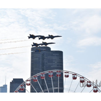 Color Photography - Sweet Home Chicago - fine art print, home decor, wall photo, chicago, navy pier, blue angels