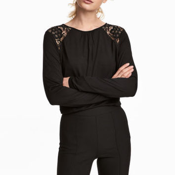 Long-sleeved Top with Lace - Black - Ladies | H&M CA