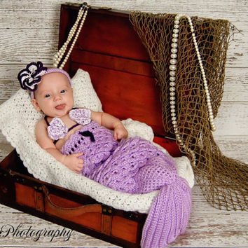 baby girl clothing, newborn cocoon, cocoon, headband, mermaid, baby shower gift, Mermaid Photo Prop, 3 piece set