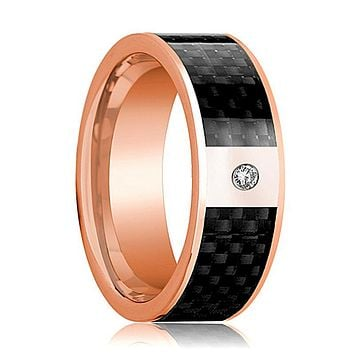 Mens Wedding Band 14K Rose Gold and Diamond with Black Carbon Fiber Inlay Flat Polished Design