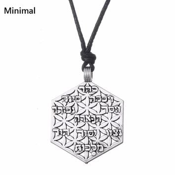 Minimal Vintage Viking Tunes Hexagon Talisman Life of Flower Pendant&Necklace Wicca Jewelry For Man