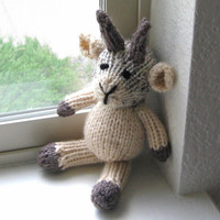 "Hand Knit Goat - Stuffed Animal Small Knit Toy -  Knit Animal Baby Toy - Stuffed Toy Knit Farm Animal Kids Toy Goat 8"" Tall"