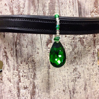 Large Emerald Stone Bridle Charm Chandelier - Accent for Horse Browband