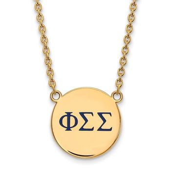 14K Plated Silver Phi Sigma Sigma Large Enamel Necklace