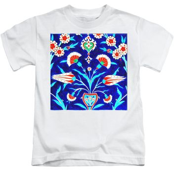 An Ottoman Iznik Style Floral Design Pottery Polychrome, By Adam Asar, No 48l Painting - Kids T-Shirt