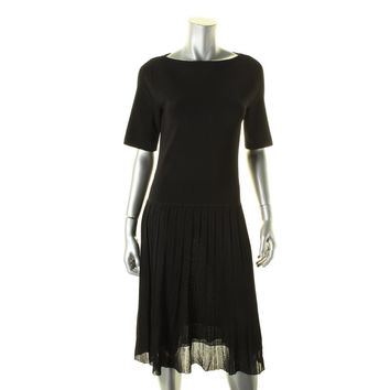 Lauren Ralph Lauren Womens Pleated Short Sleeves Skater Dress